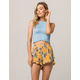 SKY AND SPARROW Floral Double Ruffle Womens Shorts