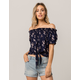 MIMI CHICA Floral Tie Front Womens Off The Shoulder Top