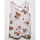 WHITE FAWN Floral Cross Back Cream Girls Tank Top