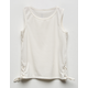 FULL TILT Lace Up Cream Girls Tank Top