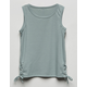 FULL TILT Lace Up Green Girls Tank Top