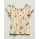 WHITE FAWN Floral Lettuce Edge Girls Top