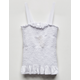 WHITE FAWN Smocked Ruffle Girls Tank Top