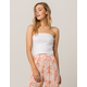 SKY AND SPARROW Basic Ribbed White Womens Tube Top