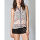 FULL TILT Chambray Placket Floral Womens Top