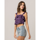 IVY & MAIN Floral Ruffle Womens Crop Tank Top