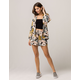POLLY & ESTHER Floral Kimono Womens Jacket And Shorts Set