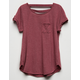 BOZZOLO Bar Back Burgundy Girls Pocket Tee