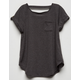 BOZZOLO Bar Back Charcoal Girls Pocket Tee