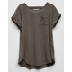 BOZZOLO Bar Back Olive Girls Pocket Tee