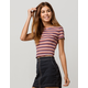 GOOD LUCK GEM Ribbed Lettuce Edge Navy Womens Crop Tee
