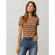 GOOD LUCK GEM Ribbed Lettuce Edge Rust Womens Crop Tee