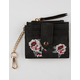 VIOLET RAY Rose Embroidered Black Mini Cardholder Keychain