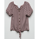 WHITE FAWN Stripe Tie Front Girls Top