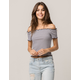 SOCIALITE Ribbed Stripe Womens Off The Shoulder Top