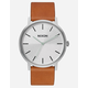 NIXON Daily Driver Porter Leather Silver & Tan Watch