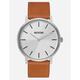NIXON Daily Driver Porter Leather Silver & Tan Watch