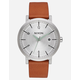 NIXON Daily Driver Rollo 38 Silver & Tan Watch