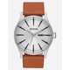 NIXON Daily Driver Sentry Leather Silver & Tan Watch