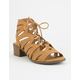 CITY CLASSIFIED Dalles Lace Up Tan Womens Heeled Sandals