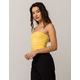 SKY AND SPARROW Cinch Front Yellow Womens Tube Top