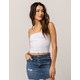 SKY AND SPARROW Cinch Front White Womens Tube Top