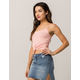SKY AND SPARROW Ribbed Stripe Coral Womens Knot Front Cami