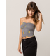 POLLY & ESTHER Floral Stripe Black Womens Tube Top