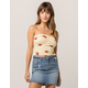 POLLY & ESTHER Floral Stripe Yellow Womens Tube Top