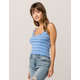 IVY & MAIN Stripe Lettuce Edge Blue Womens Tank Top