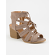 QUPID Lace Up Block Heel Taupe Womens Sandals