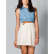 FULL TILT Belted Chambray Lace Dress