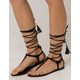 QUPID Lace Up T Strap Black Womens Sandals