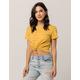 FULL TILT Stripe Knot Front Mustard Womens Crop Tee