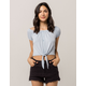 SKY AND SPARROW Tie Front Blue Womens Off The Shoulder Top