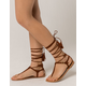 QUPID Lace Up T Strap Cognac Womens Sandals