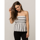 SOCIALITE Stripe Tie Back White & Black Womens Tube Top