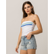 FULL TILT Horizontal Stripe White Womens Tube Top
