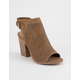 SODA Open Back Perforated Peep Toe Womens Booties