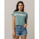 BILLABONG Roll Cuff Sleeve Teal Green Womens Crop Tee