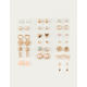 FULL TILT 20 Pairs Flower & Star Gold Earrings