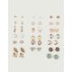 FULL TILT 20 Pairs Moon & Feather Stud Earrings