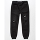 EAST POINTE Checkered Ripped Denim Black Boys Jogger Pants