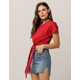 JOLIE Oversized Tie Front Red Womens Tee