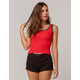 HEART & HIPS Ribbed Ringer Red Womens Tank Top