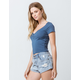 BOZZOLO Cinch V-Neck Blue Womens Crop Tee