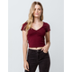 BOZZOLO Cinch V-Neck Burgundy Womens Crop Tee