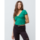 BOZZOLO Cinch V-Neck Green Womens Crop Tee
