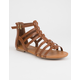 SODA T-Strap Back Zip Tan Womens Gladiator Sandals