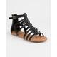 SODA T-Strap Back Zip Black Womens Gladiator Sandals